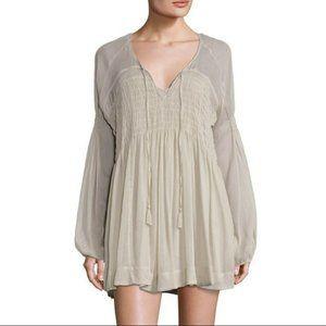 FREE PEOPLE Lini Smocked Gray Long Sleeve Dress, S